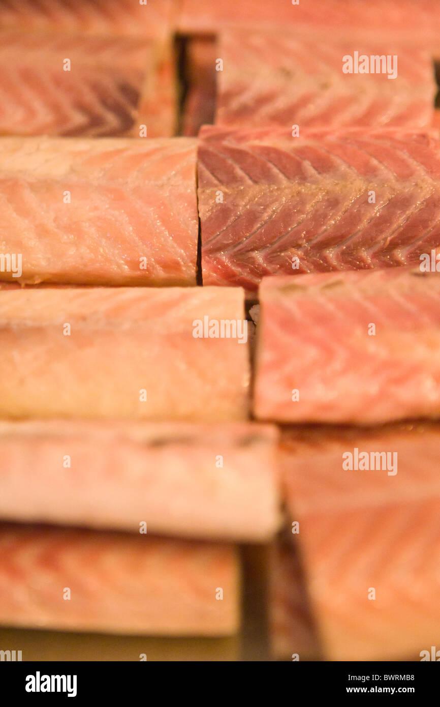 Smoked eel fillet at Paustian Restaurant in Copenhagen, Denmark. - Stock Image