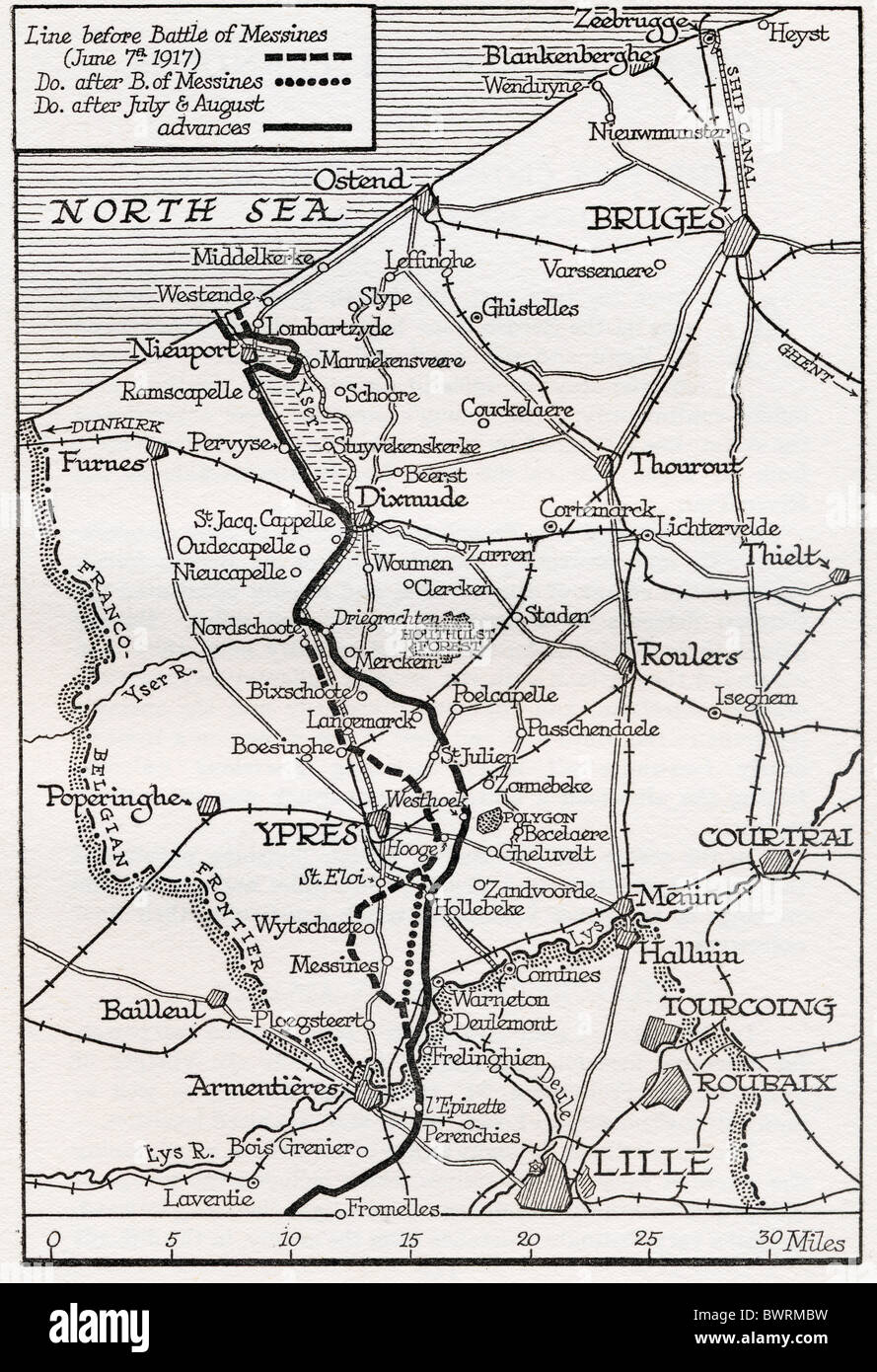 The Flanders front line July and August 1917. - Stock Image