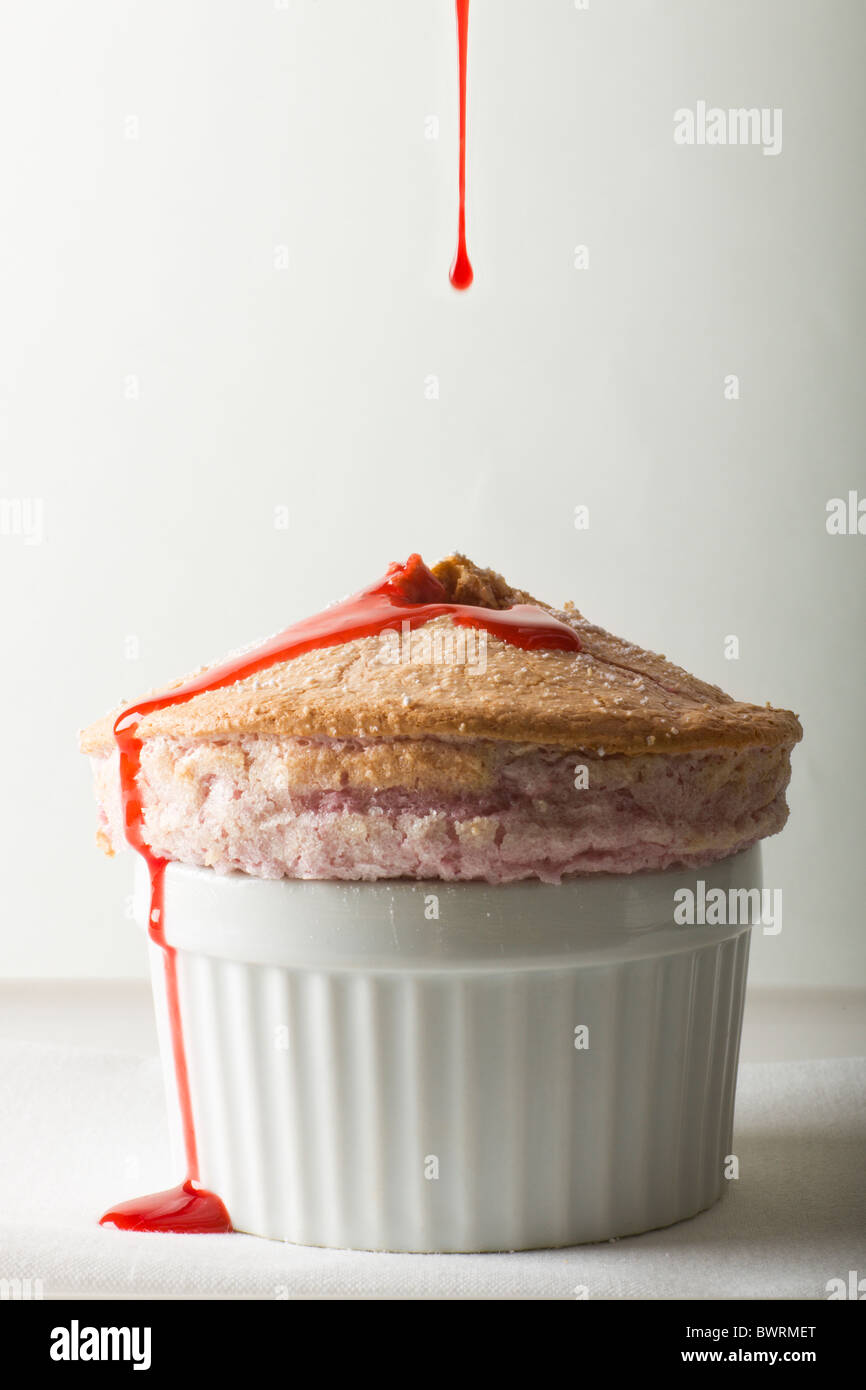 Raspberry Soufflé prepared by Iacopo Falai, Chef/Owner of Falai in New York Stock Photo