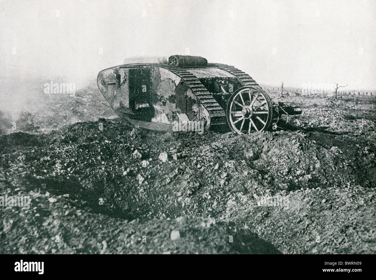 A British tank in action on the Western Front during the First World War. - Stock Image