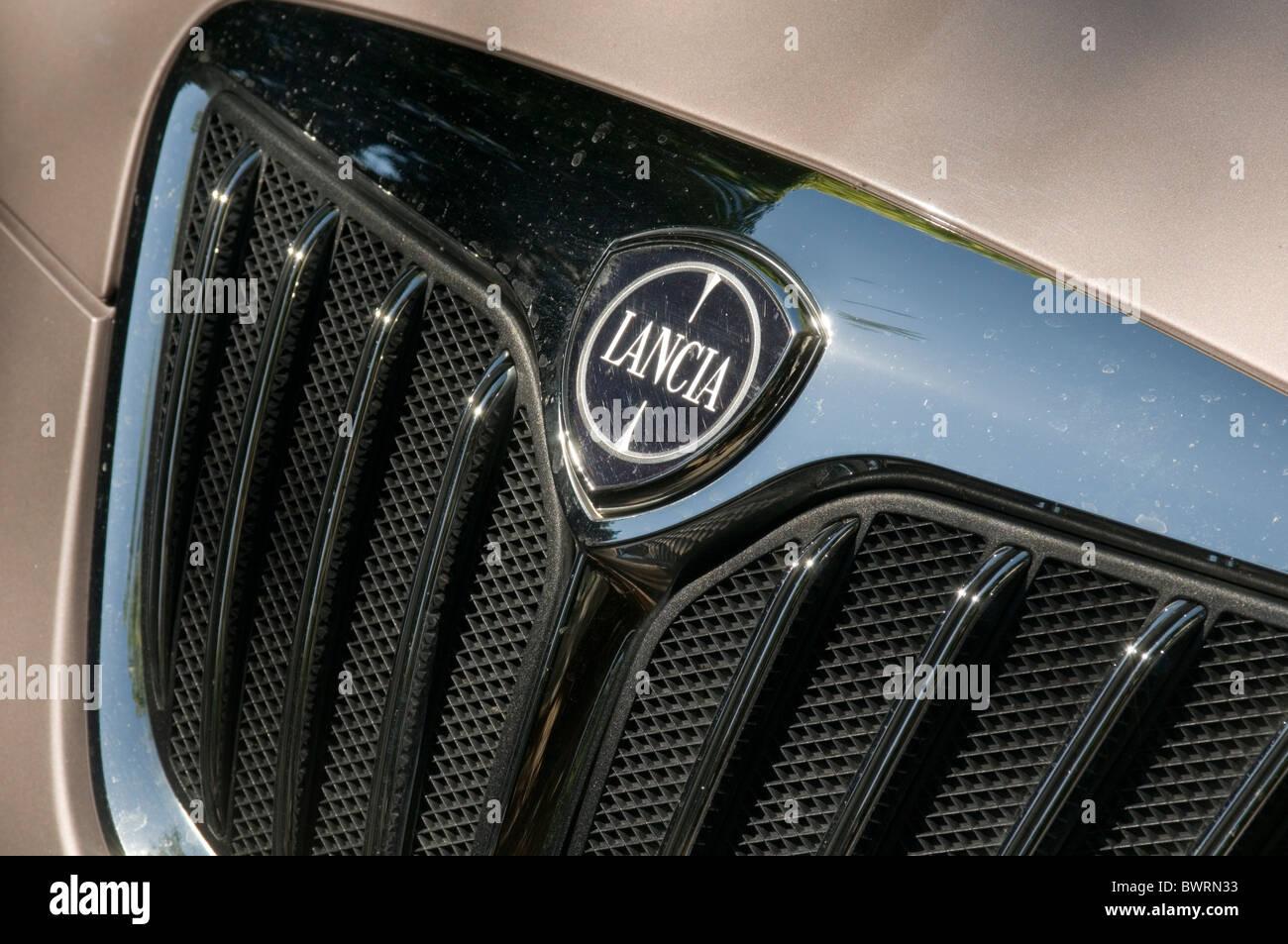 lancia car cars badges logo logos badges hood bonnet grill brand brands branding Italian italy general motors gm - Stock Image