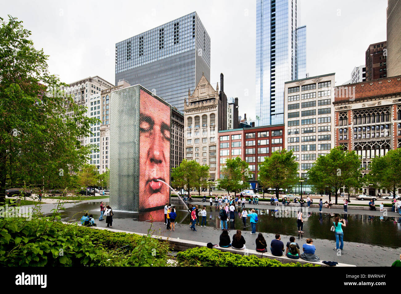 Crown Fountain, Chicago, Illinois - Stock Image