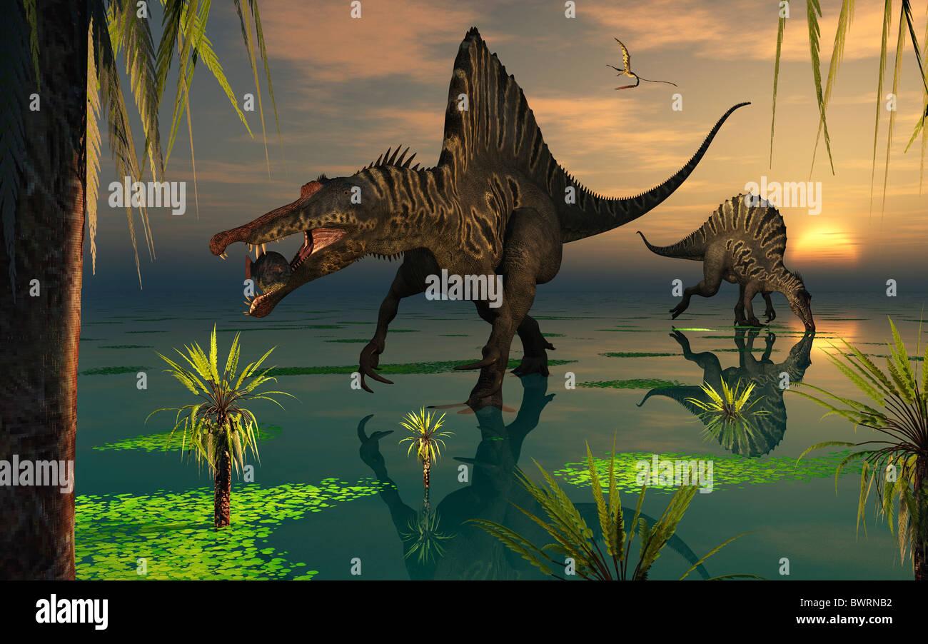 Spinosaurus Dinosaurs Fishing - Stock Image