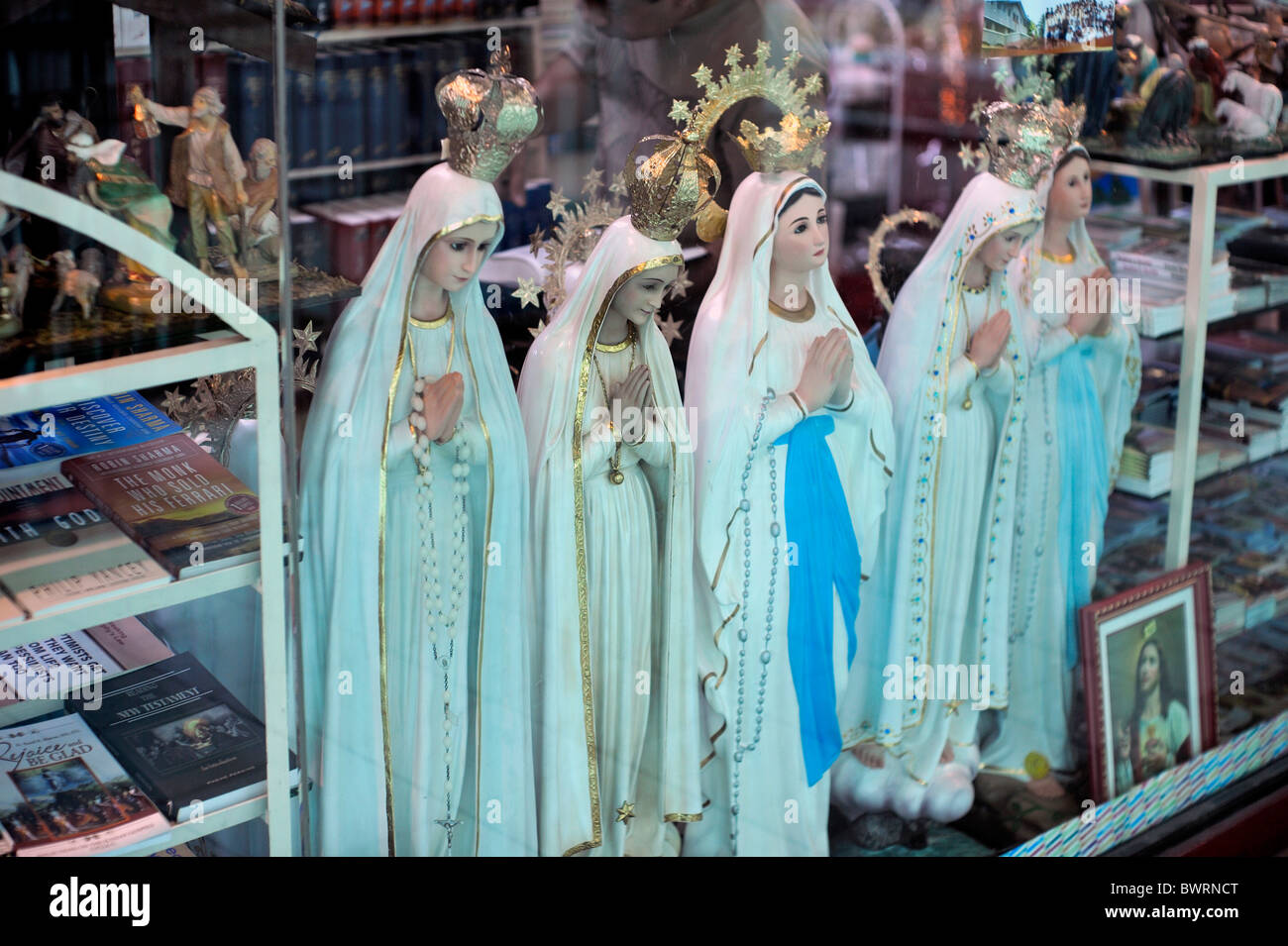 Catholic Figurines Ayala Center Cebu City Philippines - Stock Image