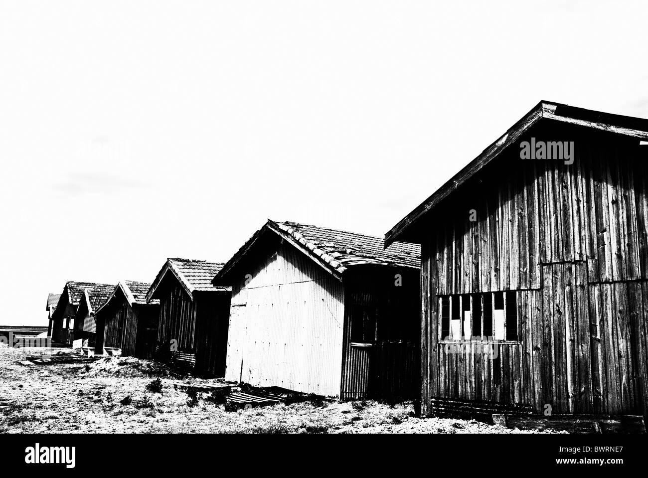 Oyster breeding sheds at Laramos Port on Bassin d'Arcachon, France. - Stock Image