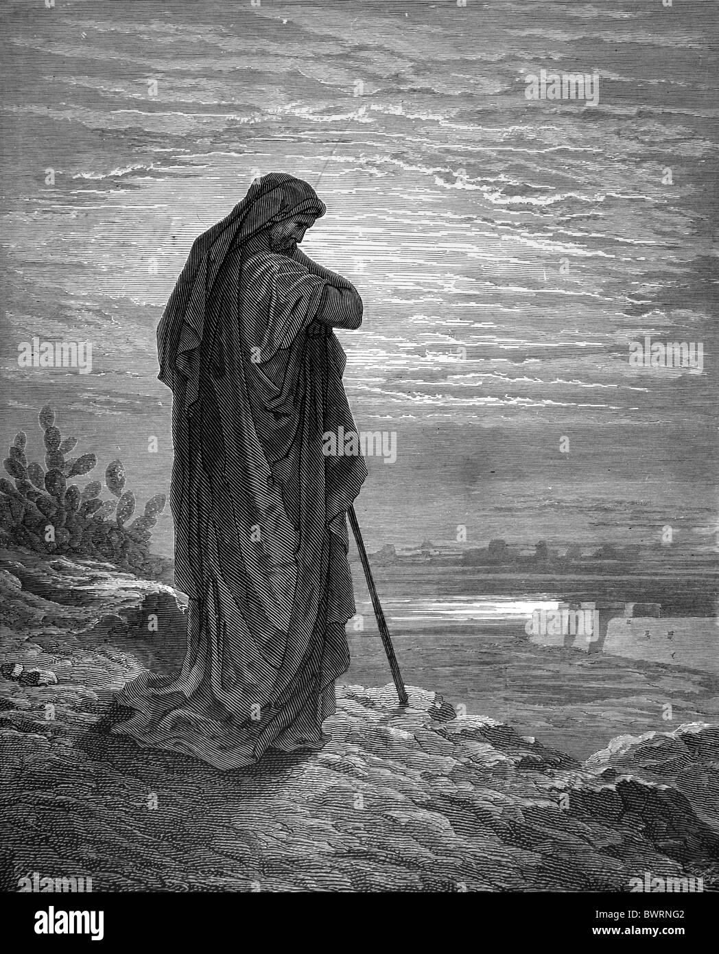 Gustave Doré; Amos, Herdman of Tekoa; Black and White Engraving - Stock Image