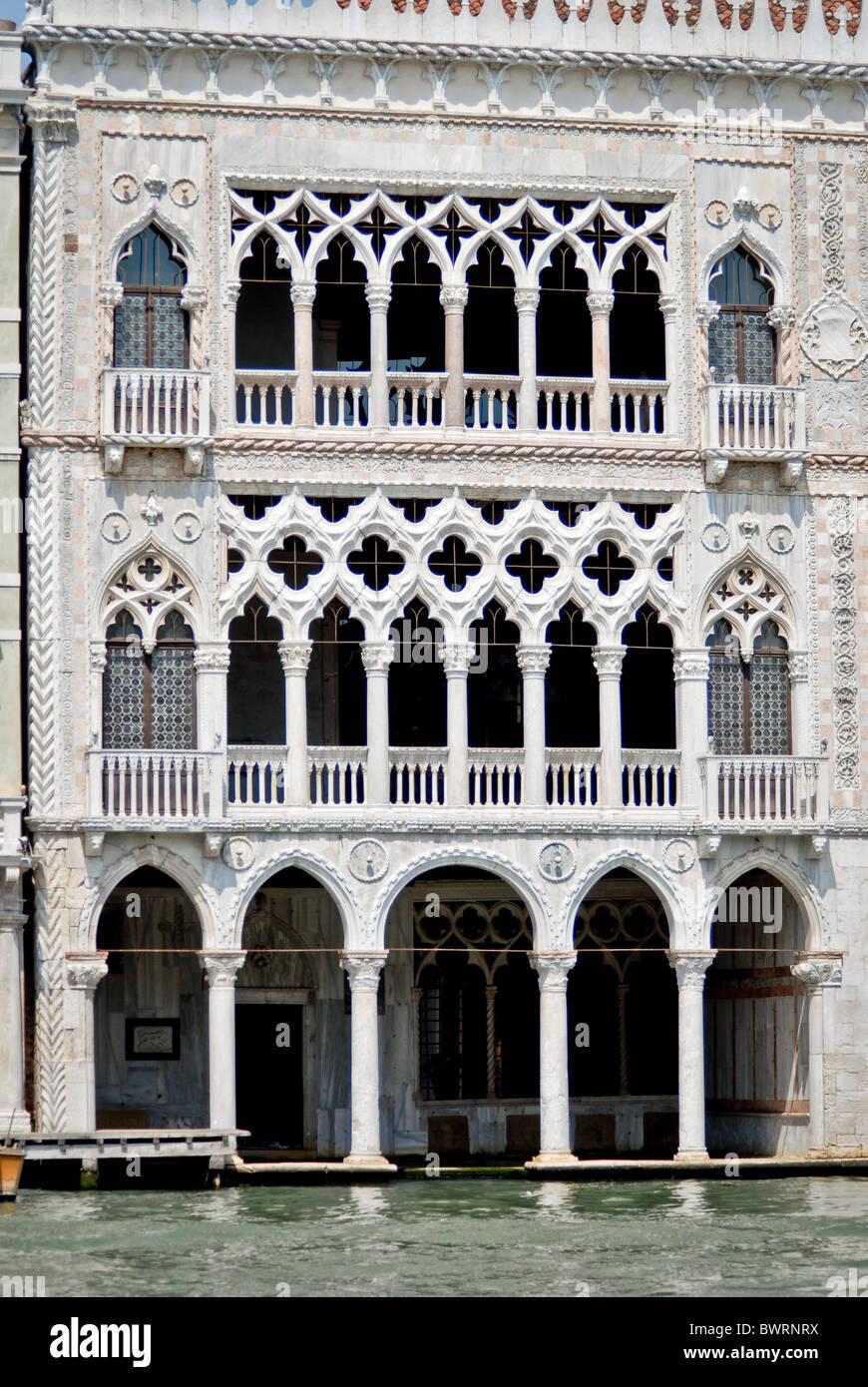 Facade of Venetian Merchant's house Venice - Stock Image