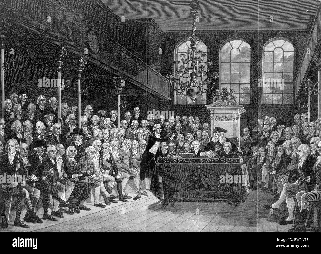 The House of Commons in 1793; Black and White Illustration; - Stock Image