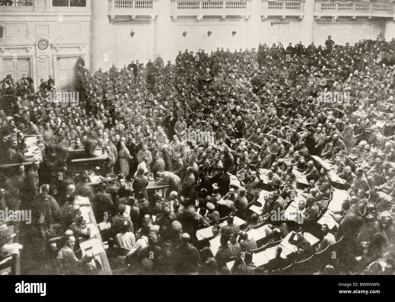 The Russian Duma in possession of the Committee of Workers and Soldiers deputies after the Revolution of 1917. - Stock Image