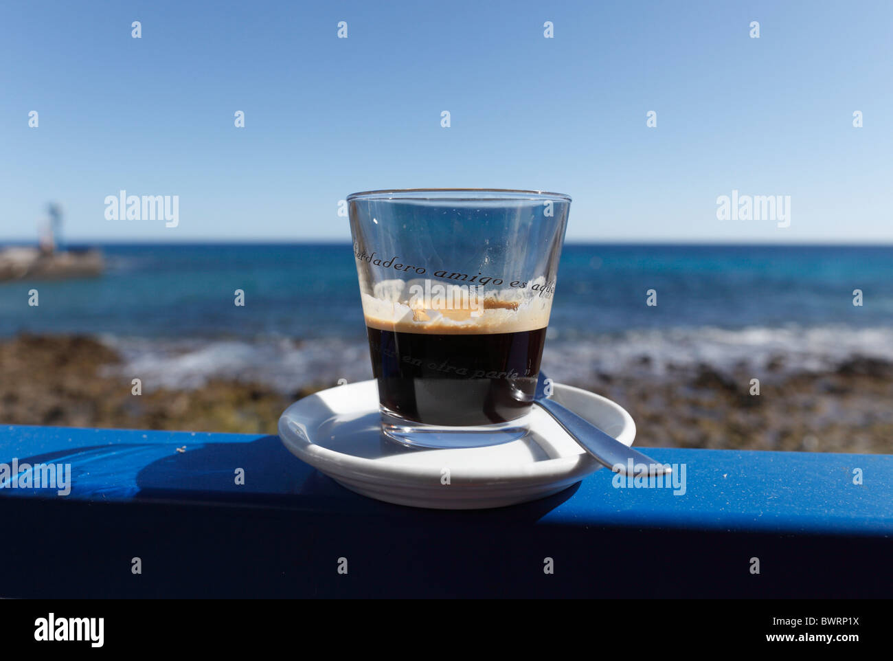 Glass of black coffee, cafe solo, espresso, Arrieta, Lanzarote, Canary Islands, Spain, Europe - Stock Image