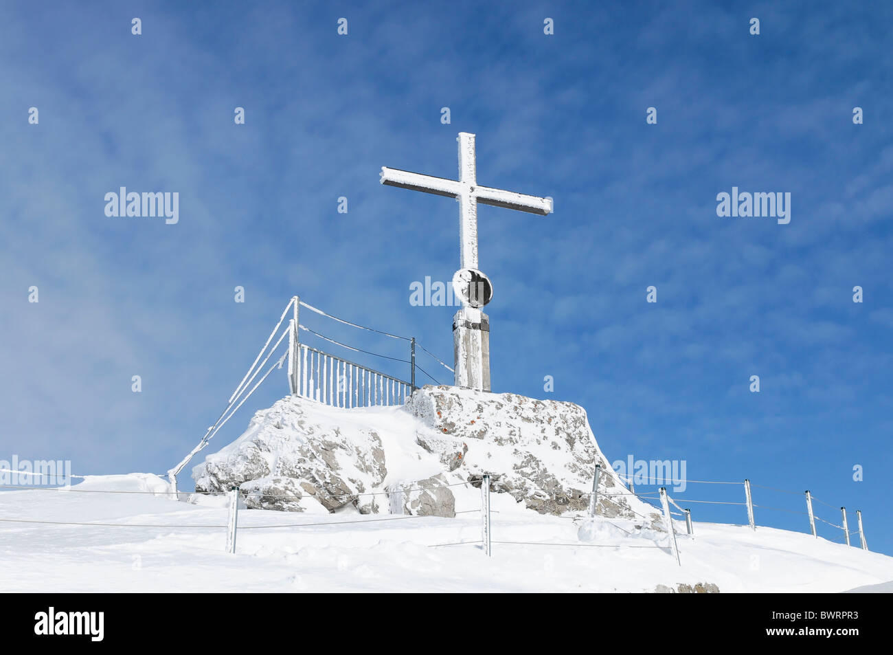 Nebelhorn summit cross, 2224m, Oberstdorf, Oberallgaeu district, Bavaria, Germany, Europe - Stock Image