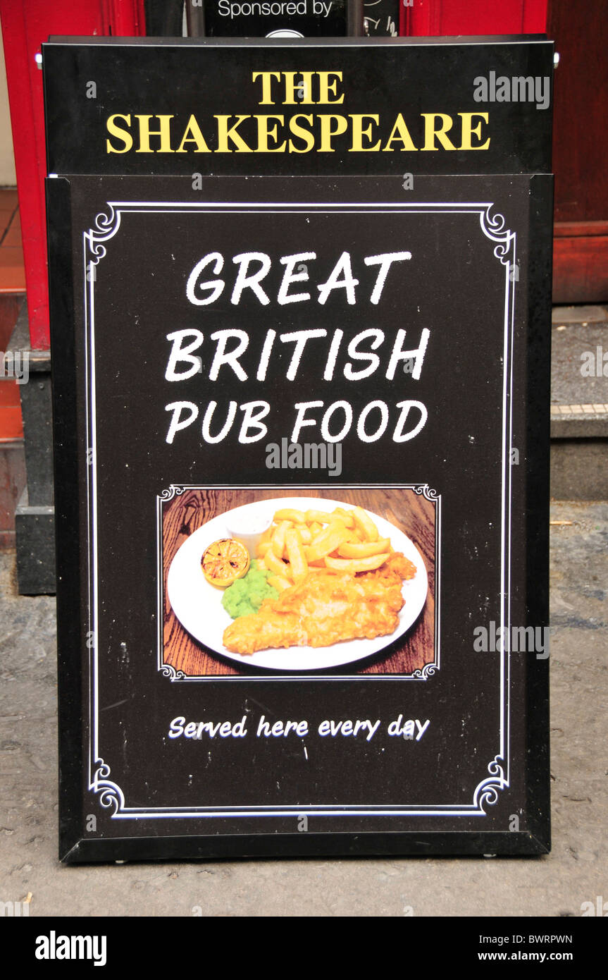 Sign 'Great British pub food' in front of the pub 'The Shakespeare', London, England, United Kingdom, - Stock Image