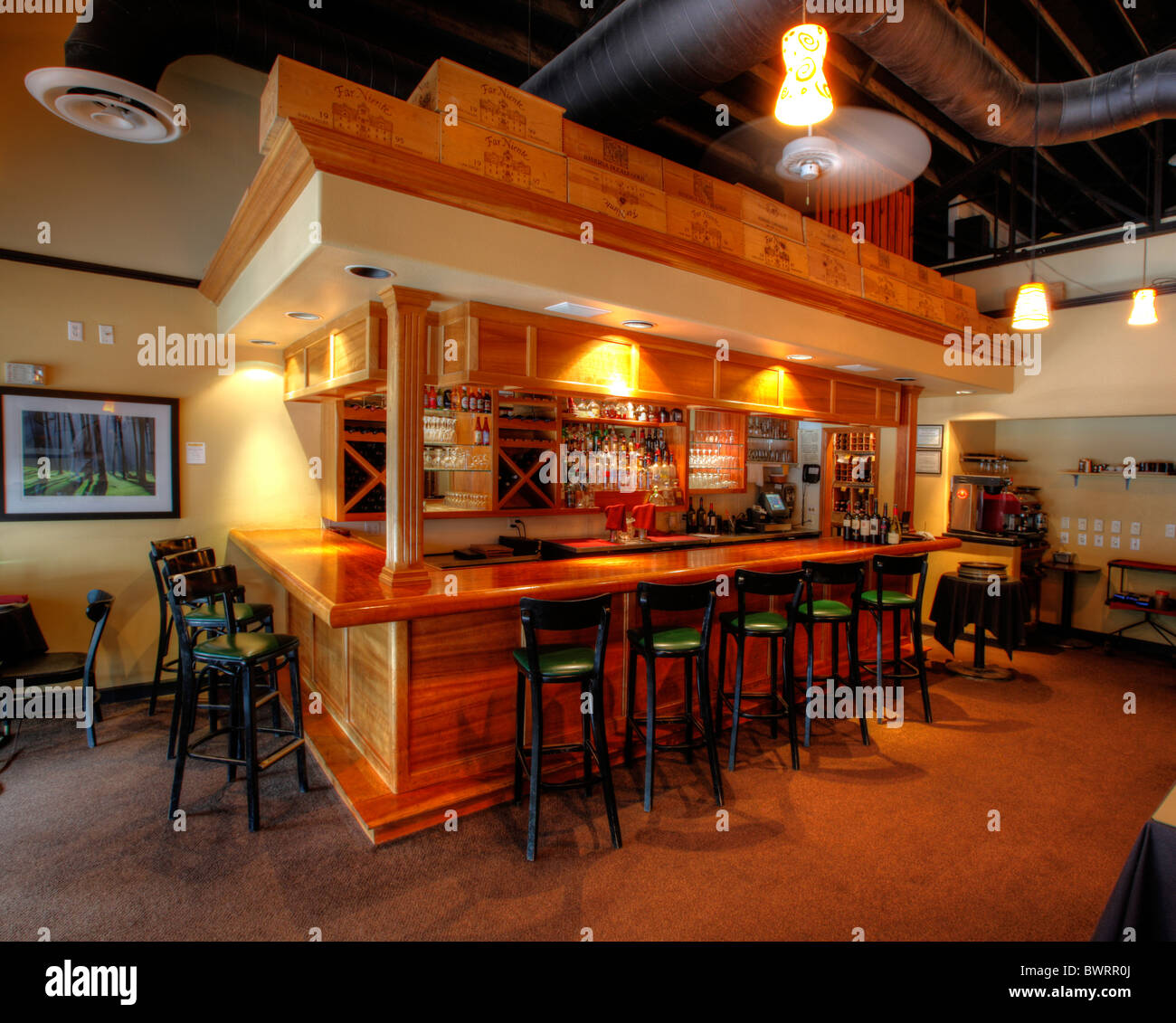 Bar in an upscale restaurant in the USA. - Stock Image
