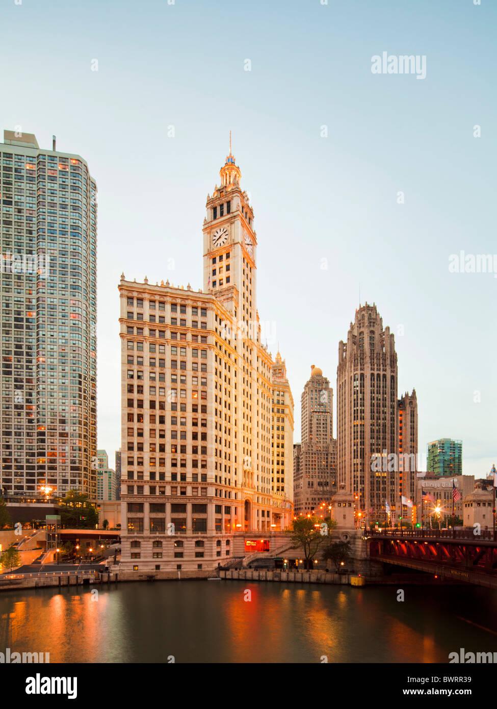 Wrigley Building, Tribune Tower, Chicago river, Illinois - Stock Image