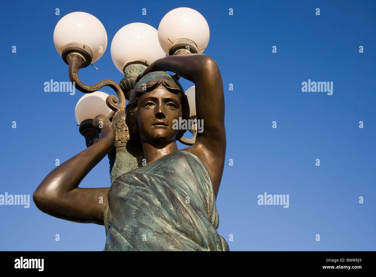 Bronze sculpture as a streetlight in a tourist resort, Sharm el Sheikh, Egypt, Africa - Stock Image