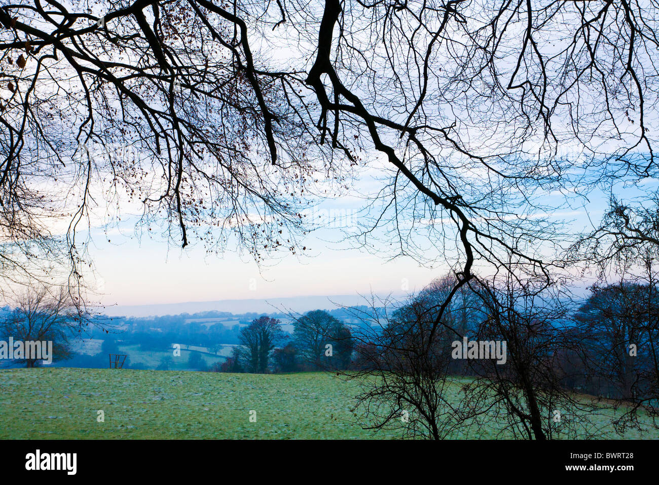 A Cotswold winter landscape from Kites Hill, near Cranham, Gloucestershire - Stock Image