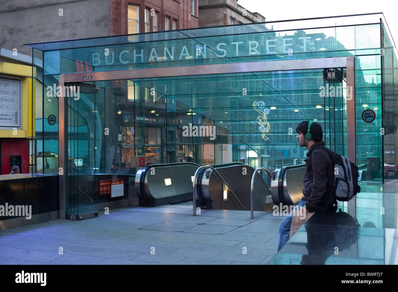 Buchanan Street Underground Station Glasgow - Stock Image