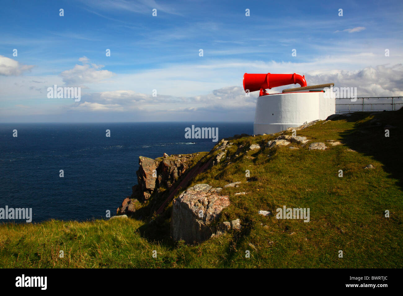 The most north westerly point of the British mainland.The Fog horn at Cape Wrath lighthouse,Durness,Highlands Scotland,UK. - Stock Image