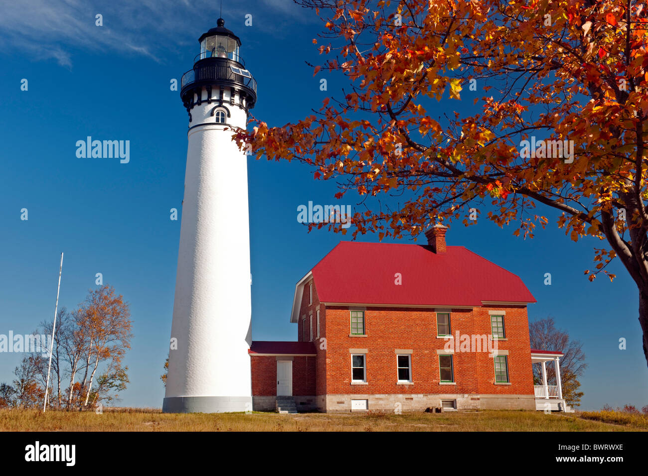 The Au Sable Lighthouse (1874) is part of Pictured Rocks National Lakeshore in Michigan's Upper Peninsula. - Stock Image