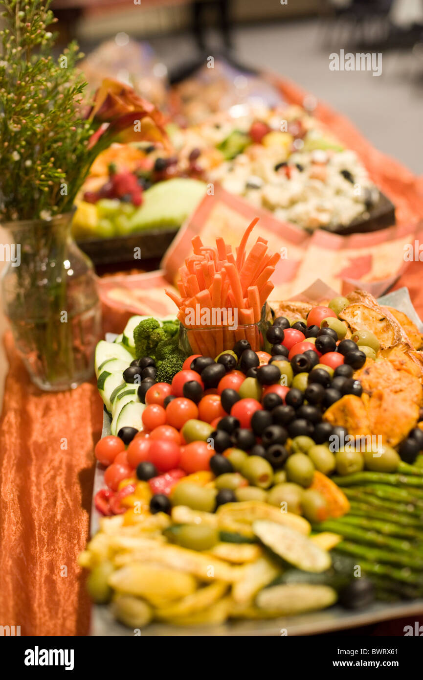 A salad and relish plate at a traditional American wedding. - Stock Image