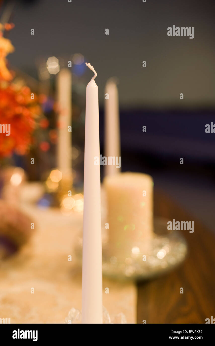 A Unity Candle at a traditional American wedding Stock Photo