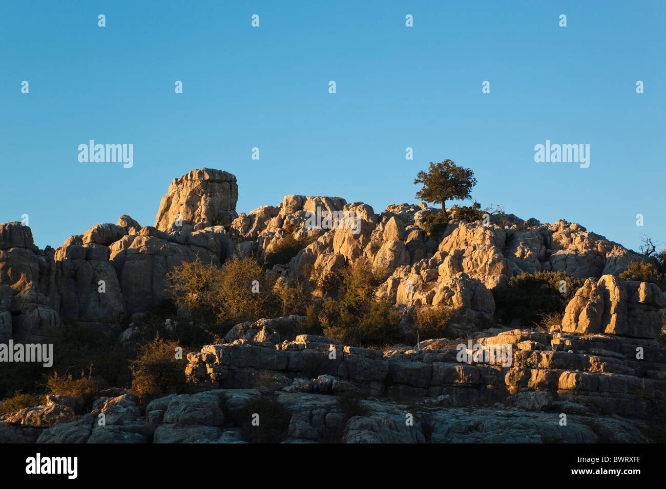 Karstic rock formations in El Torcal Park Nature Reserve near Antequera, Malaga Province, Spain. - Stock Image