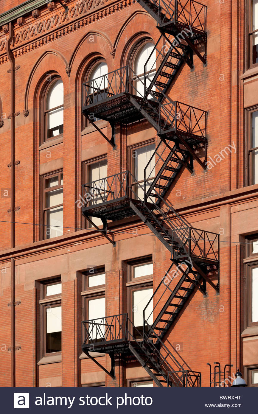 Exterior fire escape on the old Gooderham Building in downtown Toronto Ontario Canada Stock Photo