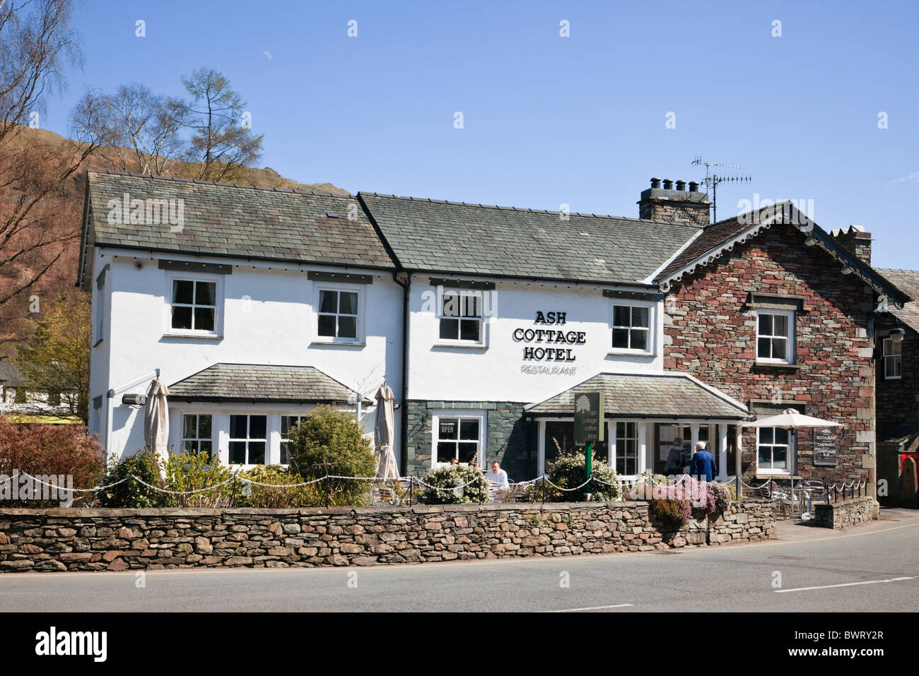 Ash Cottage country hotel and cafe in the Lake District National Park village. Grasmere, Cumbria, England, UK. - Stock Image