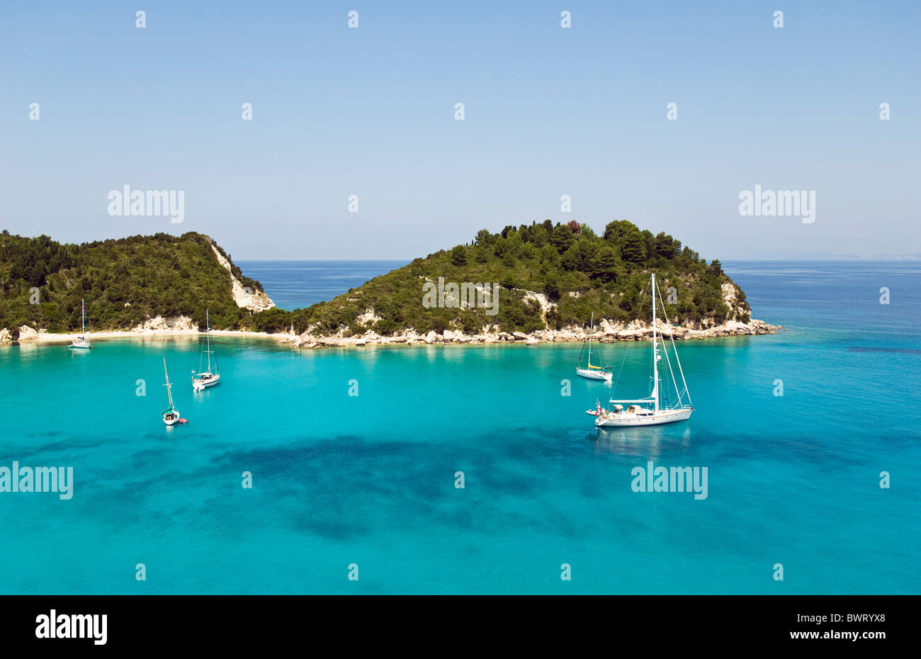 A view of beautiful Lakka Harbour on the island of Paxos in Greece. Stock Photo