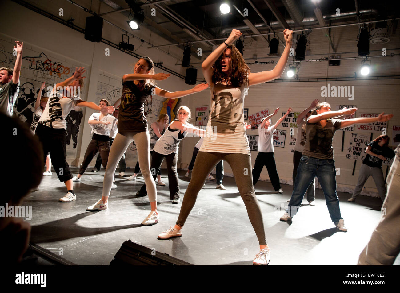 Drama and Theatre studies students Aberystwyth University performing agit-prop devised performance, UK - Stock Image