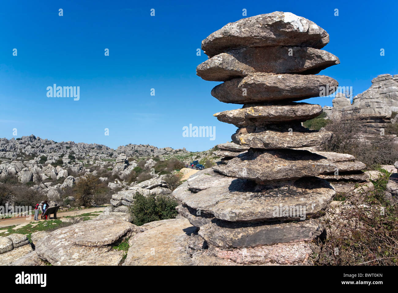 Rock formation known as El Tornillo, or the Screw in El Torcal Park Nature Reserve near Antequera, Malaga Province, - Stock Image