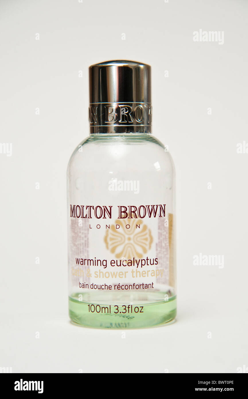 An almost empty 100 ml bottle of Molton Brown warming eucalyptus bath and shower lotion - Stock Image