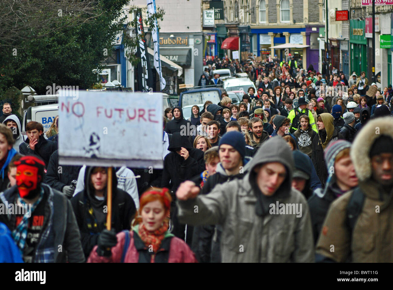 Students at Bristol University protest against rising tuition fees - Stock Image