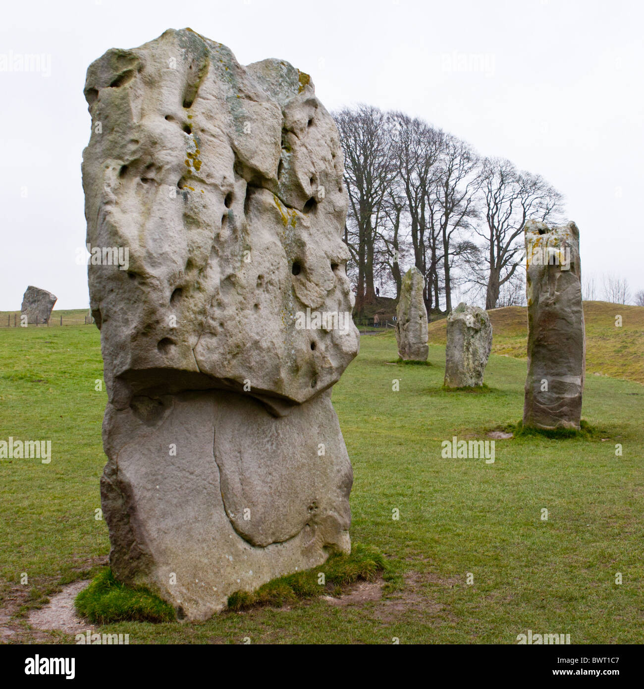 Standing stones at Avebury, Wiltshire, a 5000 year-old Neolithic monument and UNESCO world heritage site - Stock Image