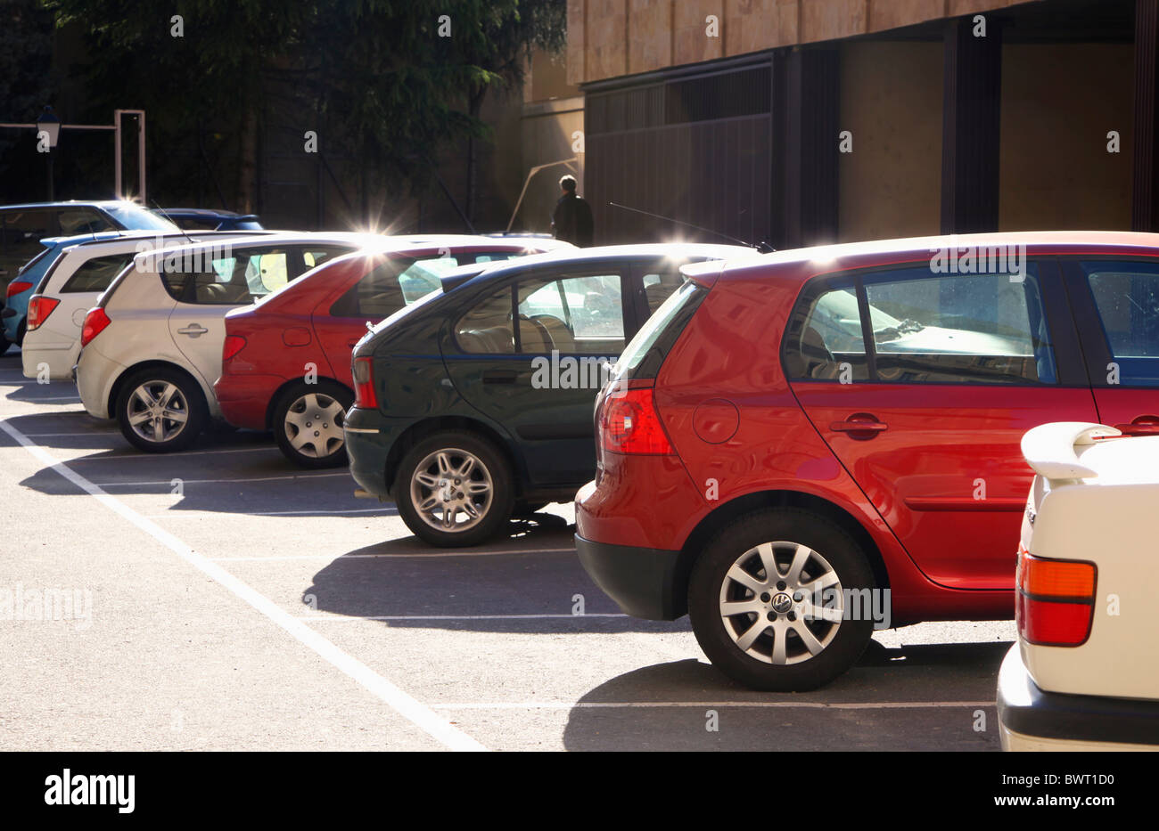 Salamanca, Salamanca Province, Spain. Parked cars in street. - Stock Image