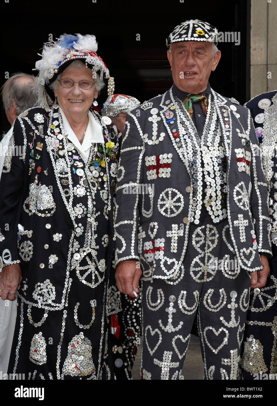 Traditional Pearly Kings and Queens London UK Europe - Stock Image