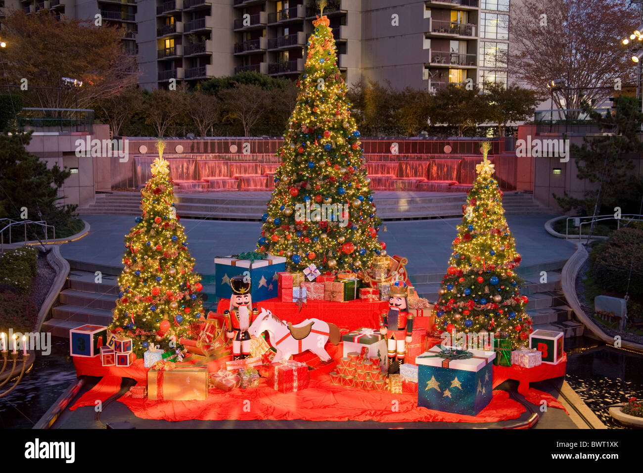 Water Court Christmas display and Tree, Bunker Hill, Downtown Los Angeles, California, USA - Stock Image