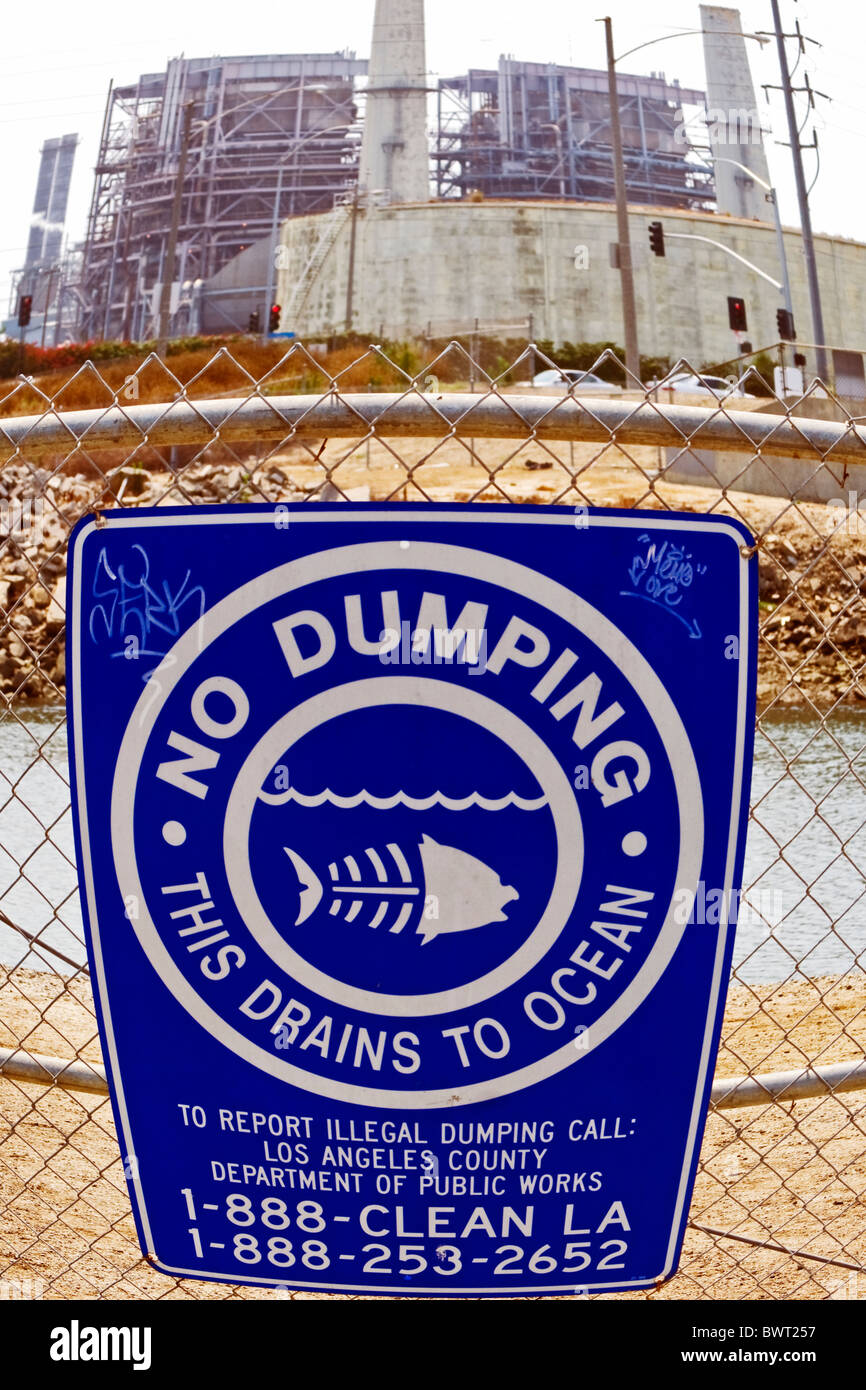 No Dumping sign, AES Power plant, Los Cerritos Channel, Long Beach, California, USA - Stock Image