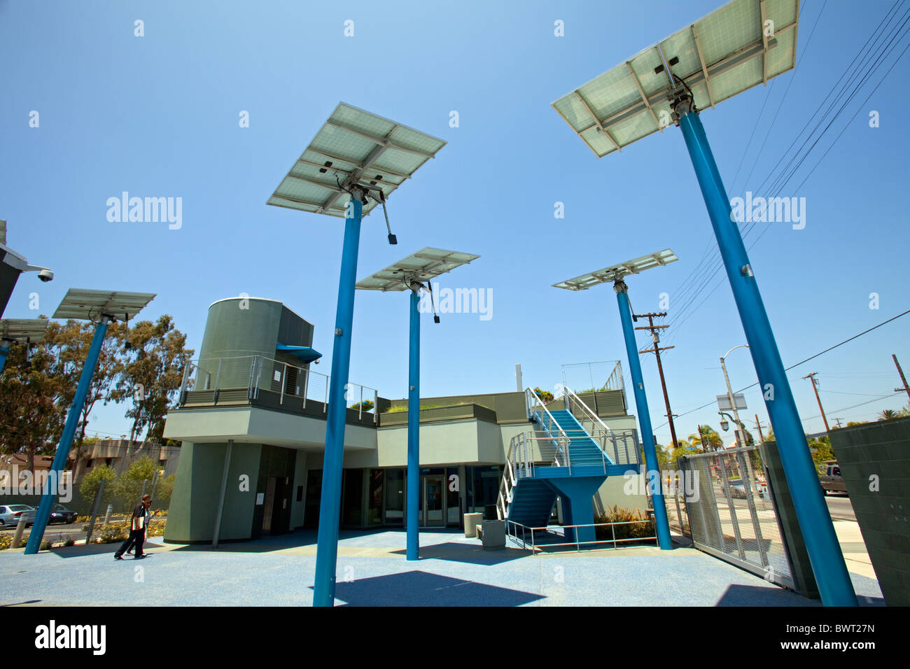 Solar panels in courtyard. The Council District 9 Neighborhood City Hall in South Central Los Angeles - Stock Image