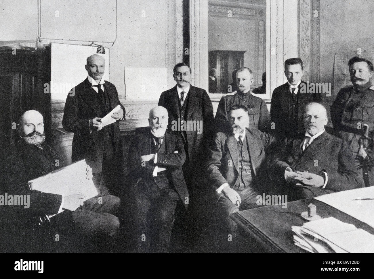 Mikhail Vladimirovich Rodzianko, 1859 - 1924, seated right, with other leaders of the Russian Revolution. - Stock Image