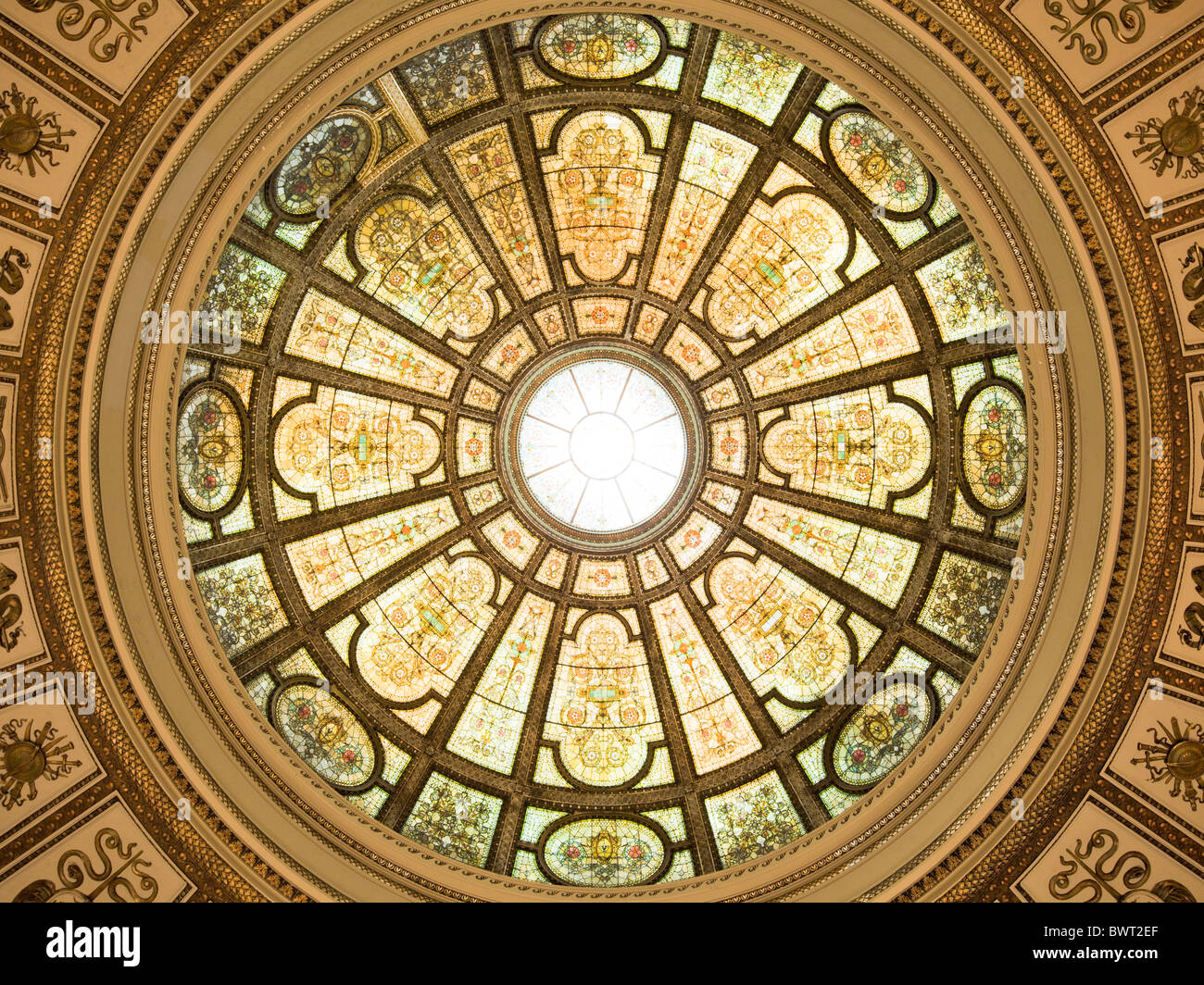 Healy Millet Stained glass Dome, Chicago Cultural Center, Illinois - Stock Image