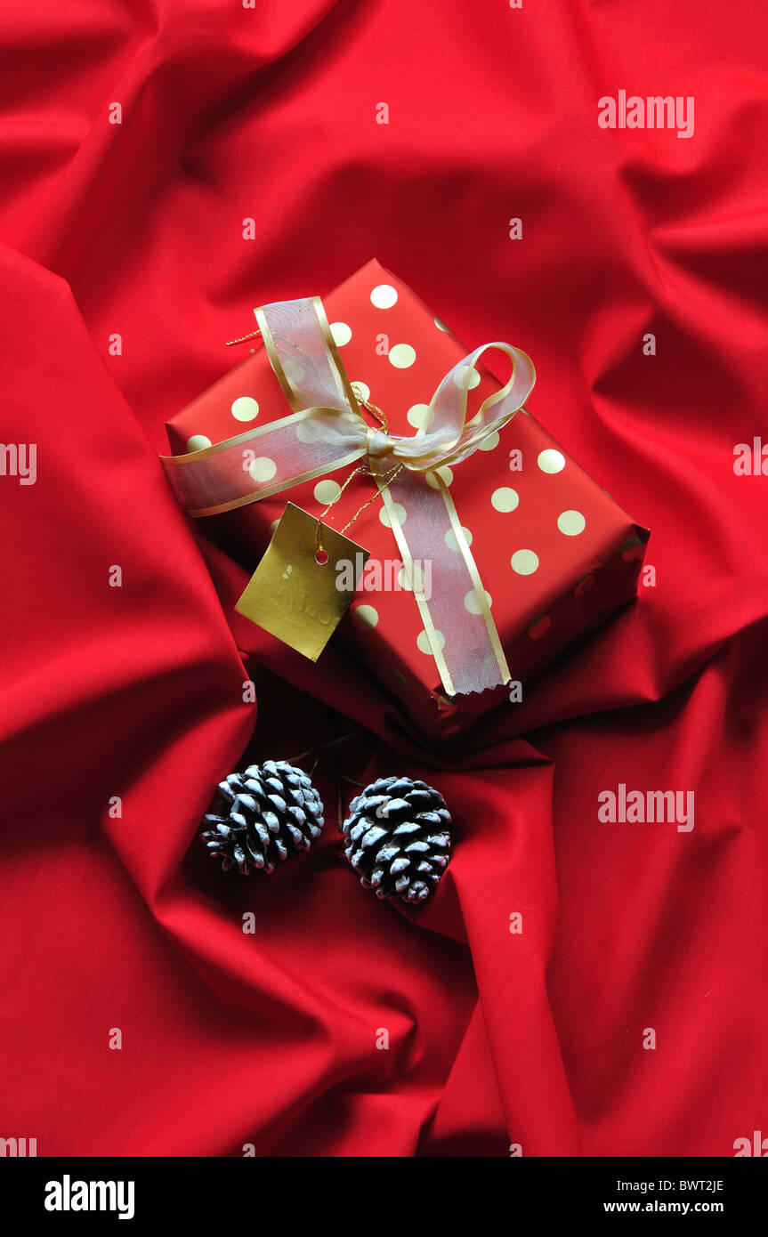 A spotty Christmas present with fir cones on a red background. December 2010 - Stock Image