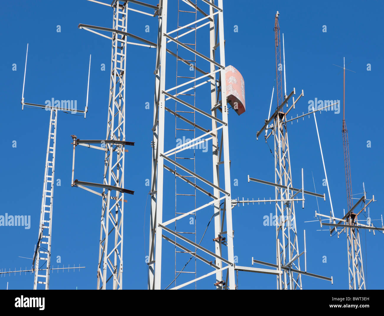 Communication masts and aerials near Mijas, Costa del Sol, Malaga Province, Spain. - Stock Image