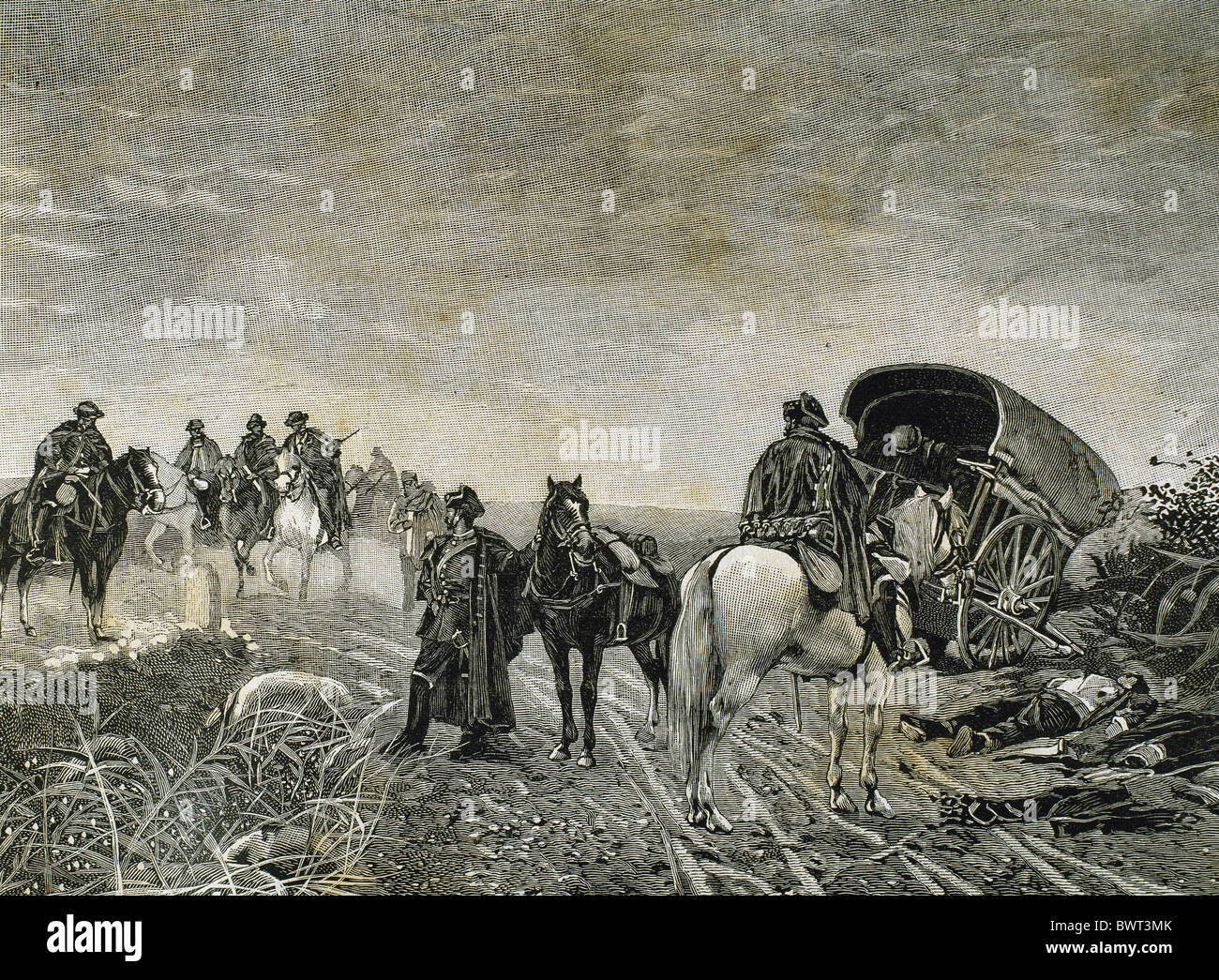 Spanish Restoration era (1875-1885). Reign of Alfonso XII. Civil guards patrol. Engraving by A. Barceló, 1884. - Stock Image