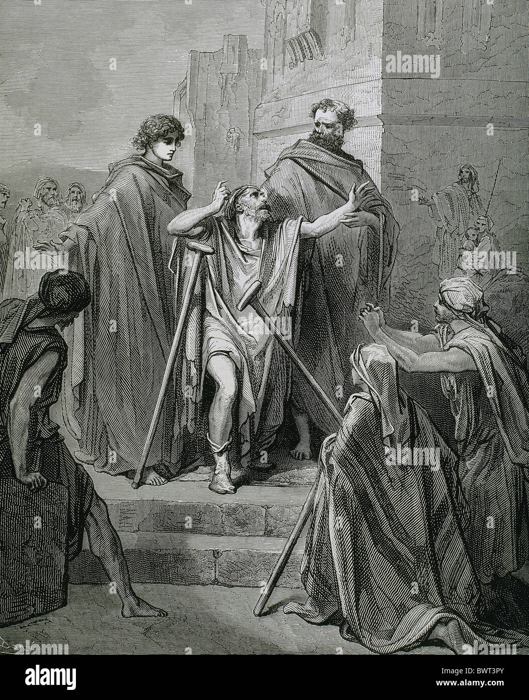 Saint Peter and Saint John healing a lame. Drawing by Dore. - Stock Image