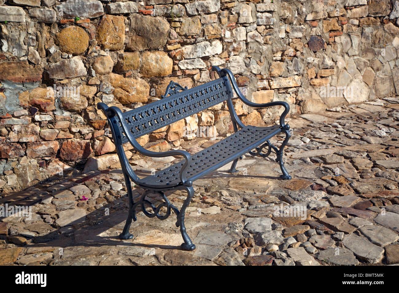 Public bench in street of Castellar de la Frontera, Cadiz Province, Spain. - Stock Image