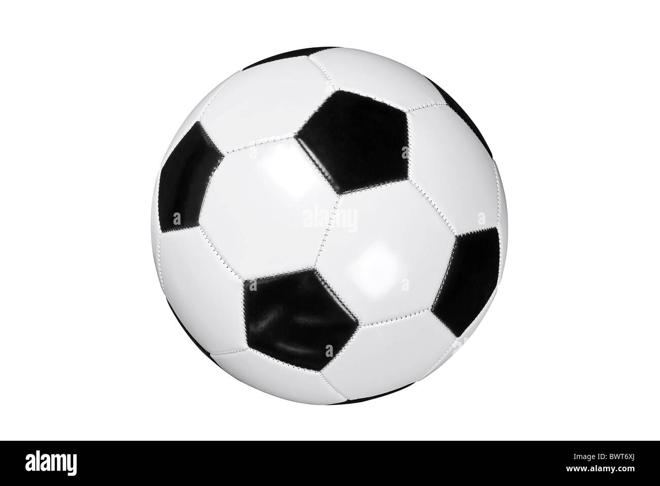 Photo of white and black leather football or soccer ball isolated on white background with clipping path done with - Stock Image