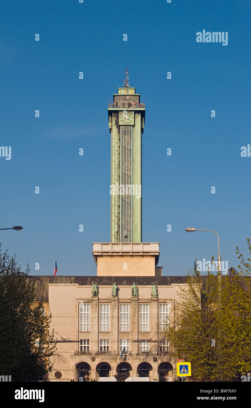 New City Hall of Ostrava with 86 meters tall Observation Tower, Czech Republic - Stock Image