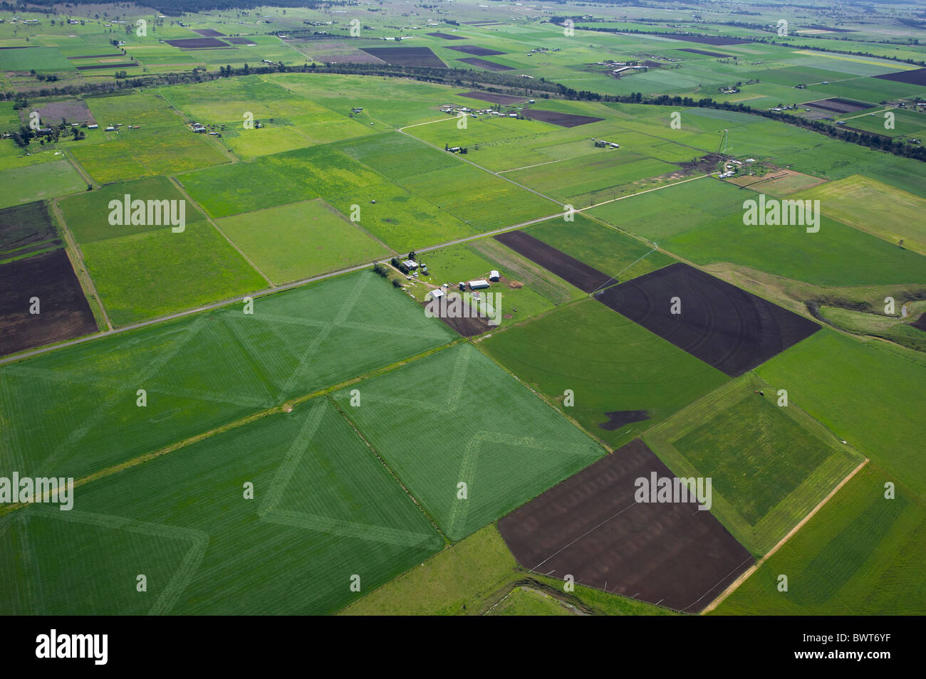 Aerial view of cropping Hunter Valley NSW Australia - Stock Image