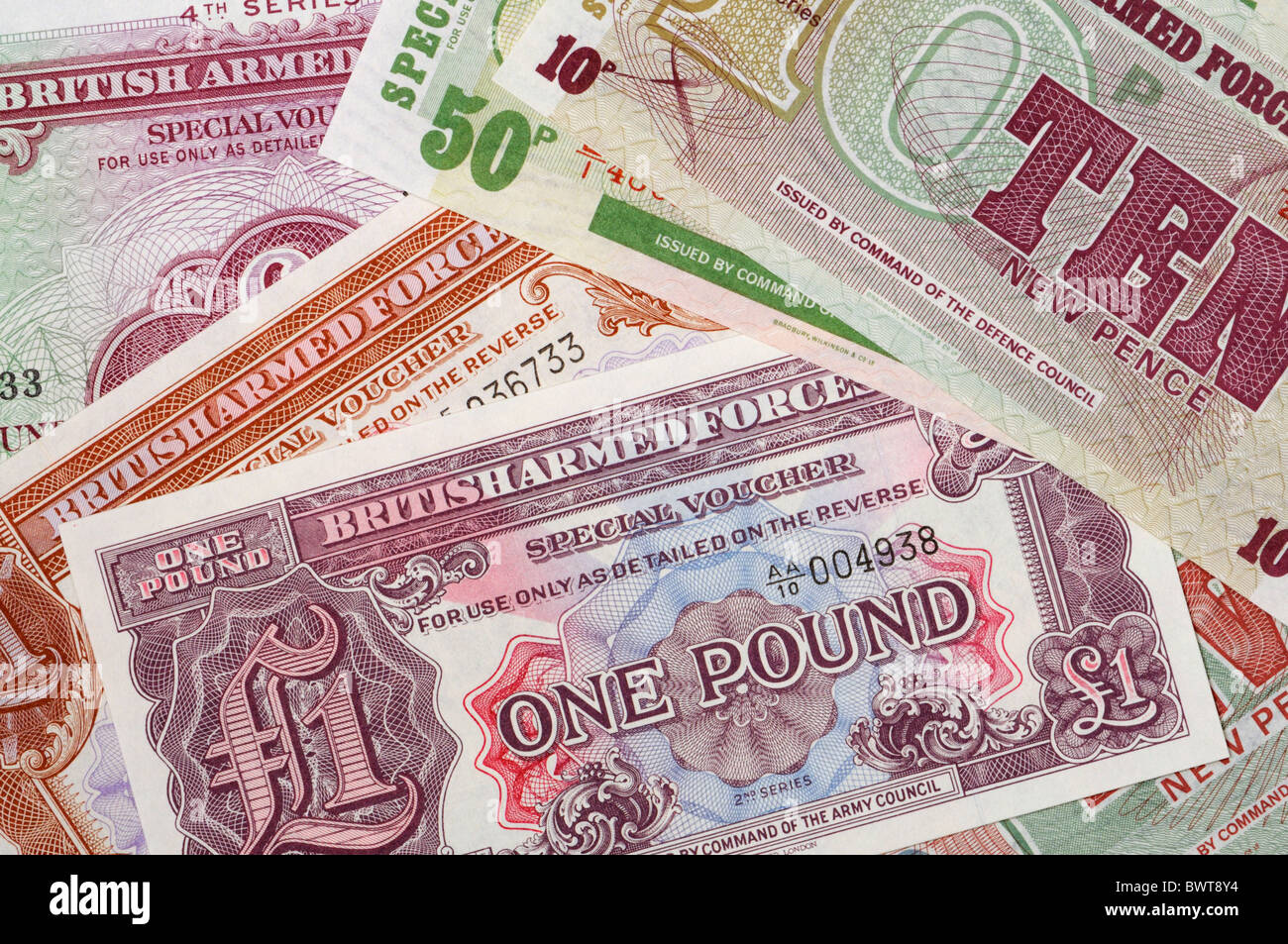 British Armed Forces special vouchers. - Stock Image